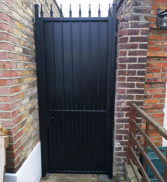 side gate with metal backing