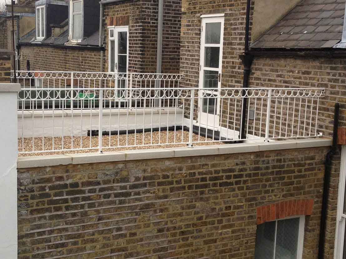wrought iron wall top railings